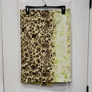 Green & Brown Spotted Pencil Skirt